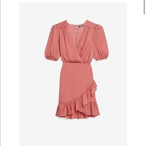 Satin Ruched Wrap Front Ruffle Dress
